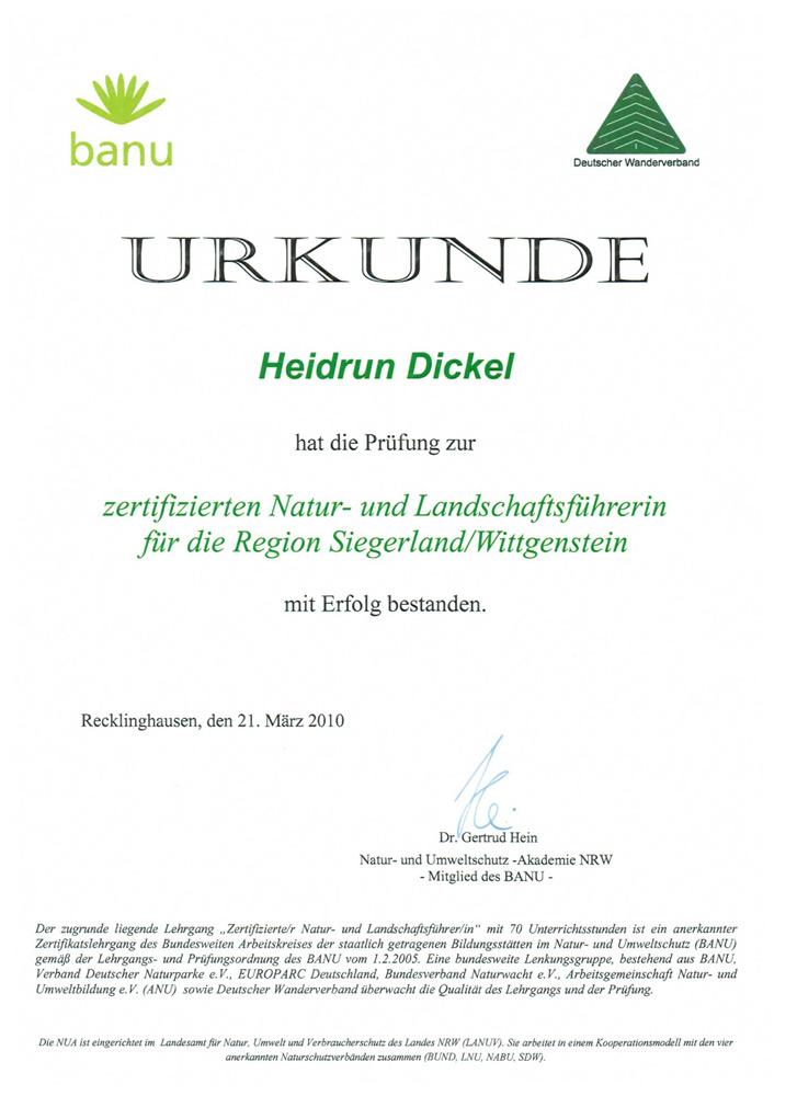 Zertifizierte Natur- und Landschaftsführerin für die Region Siegerland/Wittgenstein