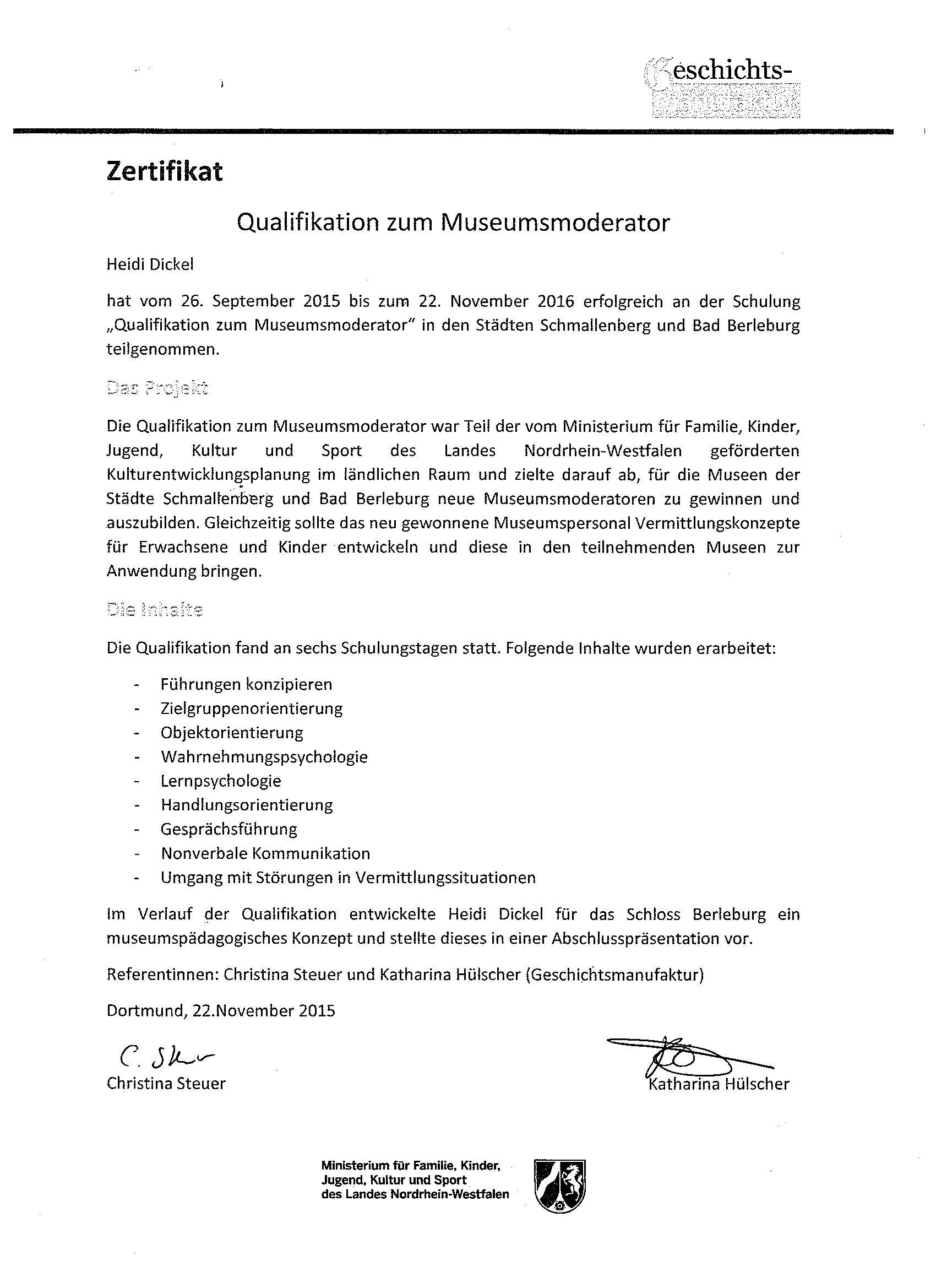 Zertifizierung Museumsmoderatorin